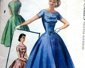 1950 Vintage Womens Evening Dress Pattern With Bateau Neck And Tiered Bow Trim McCalls 3521 Sz 11 UNCUT