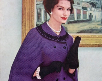 Vintage Knit Cape Pattern Double Breasted With Lrg Collar And Arm Opening  PDF