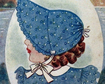 Vintage Toddlers Sun Bonnet Pattern With Wide Brim Instant Download Sz 1-2Yrs