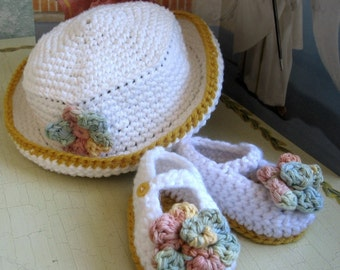 Baby Crochet Hat Mary Jane Slippers Pattern With Flower Trim PDF Easy To Make