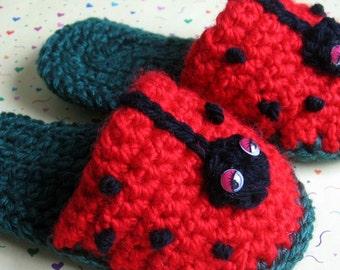Toddler Crochet Slipper Pattern Lady Bug Fun Instant Download