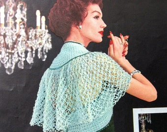 Womens Crochet Shawl Pattern Lace Stitch circa 1950 Sml Med Lrg Instant Download