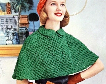 Womens Knitted Cape Pattern With Double Breasted Closure Vintage 1950s Digital Download