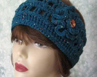 Womens Crochet Headband Pattern With Double Flower Trim Instant Download Pattern May Sell Finished