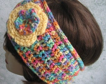 Crochet Pattern Womens Headband With Double Flower Trim Instant Download