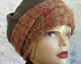 Womens Slouch Hat Pattern EasyWinter Hat Pattern With Large Contrasting Brim Easy To Make Instant Download