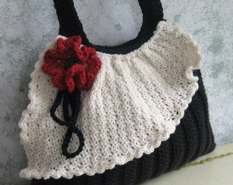 Crochet Purse Pattern Pleated Bag With Drape And Flower Trim  Easy To Make instant Download