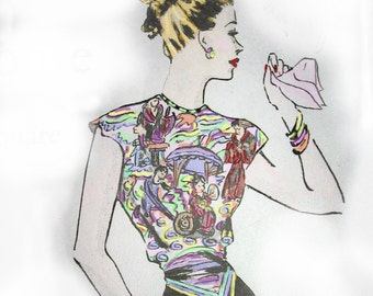 Womens Vintage Blouse Pattern- Using Your Favorite Scarf  4 Different Styles circa 1950s Instant Download