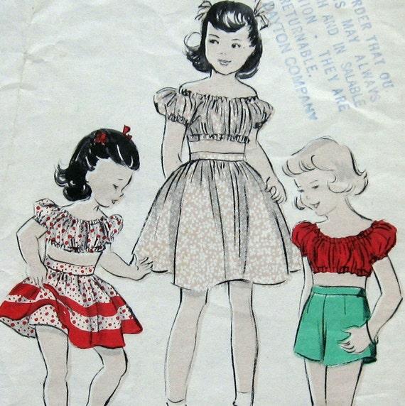SEWING PATTERN VINTAGE 50s Little Girls 3 Pc Bare Midriff Play Ensemble Sz6