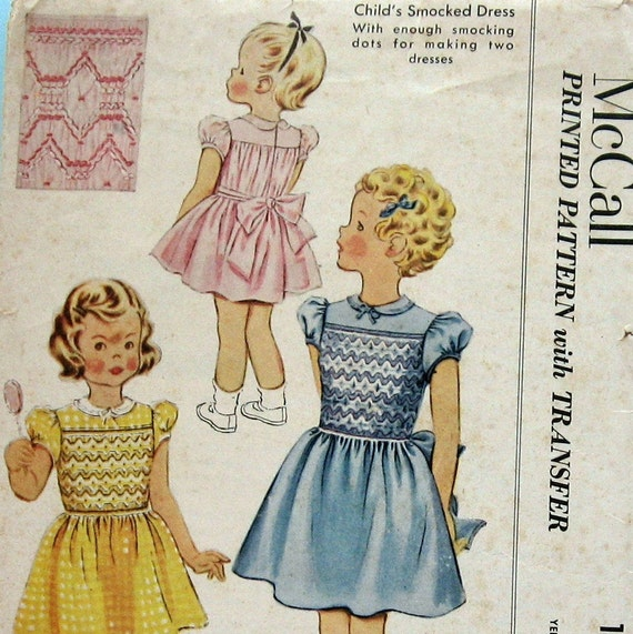vintage sewing pattern little girls smocked princess dress
