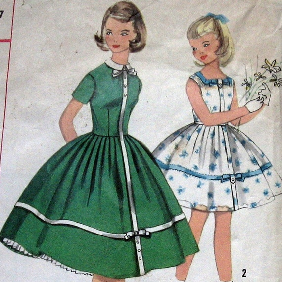 Simplicity 2016 Girls Summer Dress Pattern- Vintage 1950s Sz7
