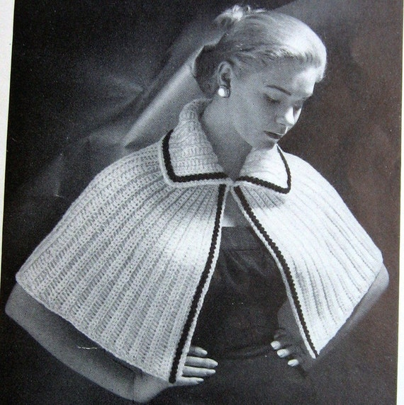 crochet pattern vintage womens cape shawl one size fits most. Black Bedroom Furniture Sets. Home Design Ideas