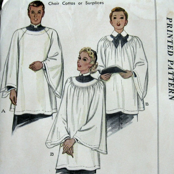 Vintage Sewing Pattern 1939 Church Choir Robe Surplice Two
