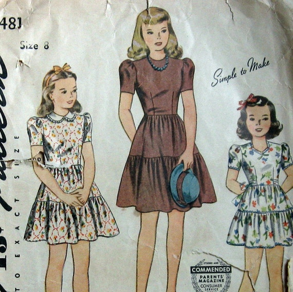 Vintage 1940s Little Girls Dress Pattern With 3 Tiered Skirt