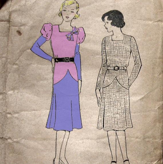 Pictorial Patterns 5863 FLAPPER  Dress Pattern circa 1925 B34