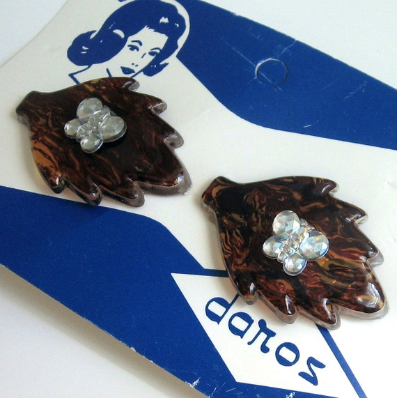 Vintage Rhinestone Hair Barrette Clips Two 1950s Pearlized Milky Coffee Plastic UNUSED