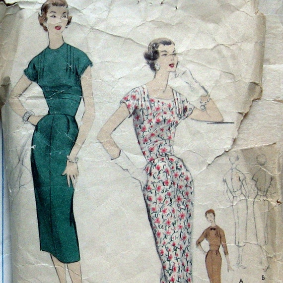 VINTAGE VOGUE Womens Dress Pattern With Fitted Midriff And 2 necklines circa 1950s  Sz12