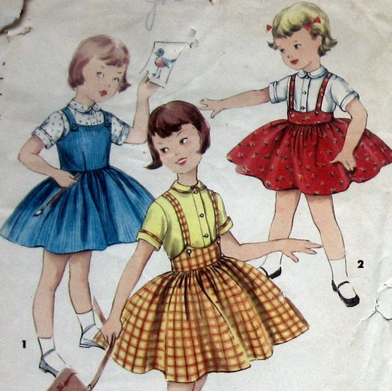 Vintage 50s Girls Dress Pattern Jumper And Blouse Simplicity 1702 Sz 6