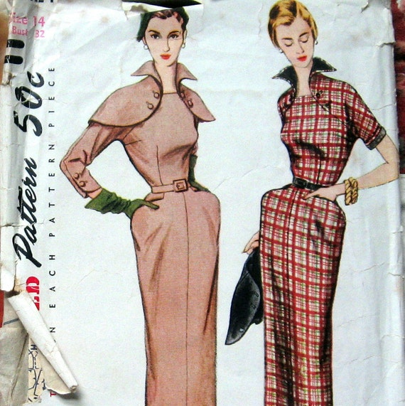 Vintage Womens Dress Pattern With Unique Cape And Detachable Collar And Cuff Trim circa 1950s Simplicity 8424 Sz 14