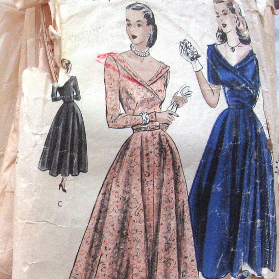 1950s Vintage VOGUE Womens Evening Dress Pattern In Two Lengths With Surplice Front And Deep Cut V Neck  Sz12
