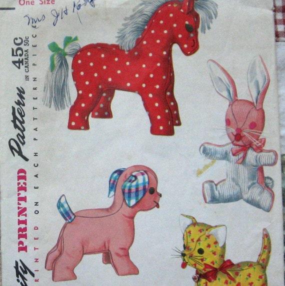 Vintage Stuffed Animal Pattern 4 Fun Soft Baby Toys Horse Rabbit Dog Cat circa 1950s Simplicity 4915