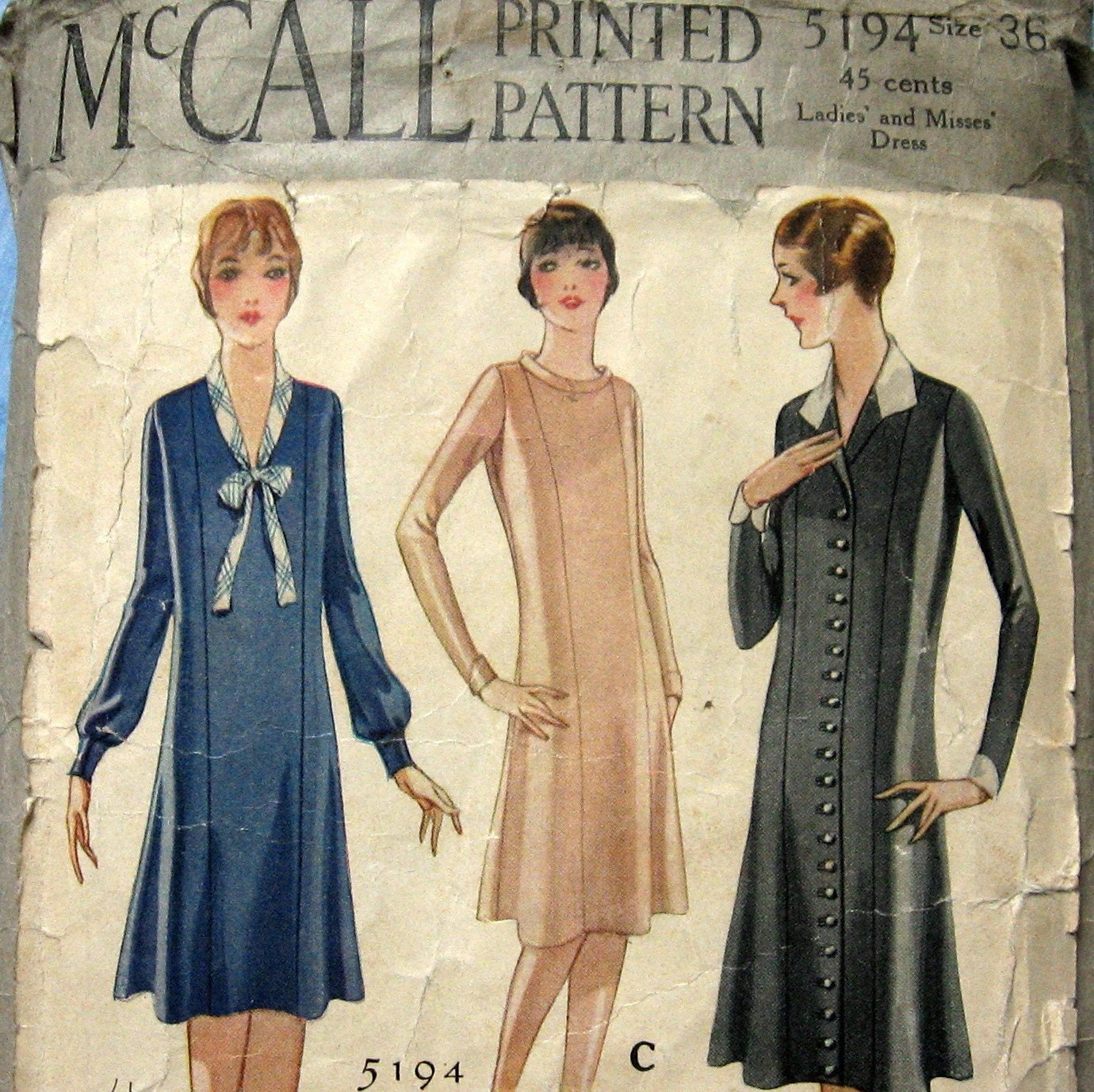 SEWING PATTERN VINTAGE ANTIQUE 1929 FLAPPER DRESS by ...