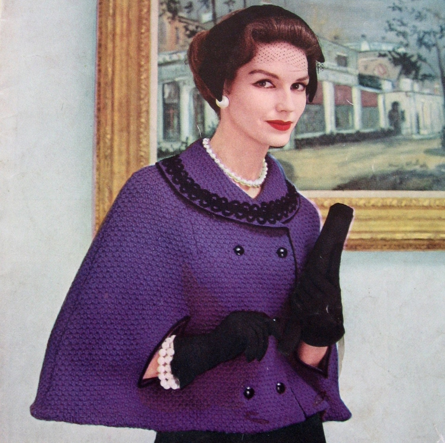 Knitting Pattern For A Cape : Vintage Knit Cape Pattern Double Breasted With Lrg Collar And