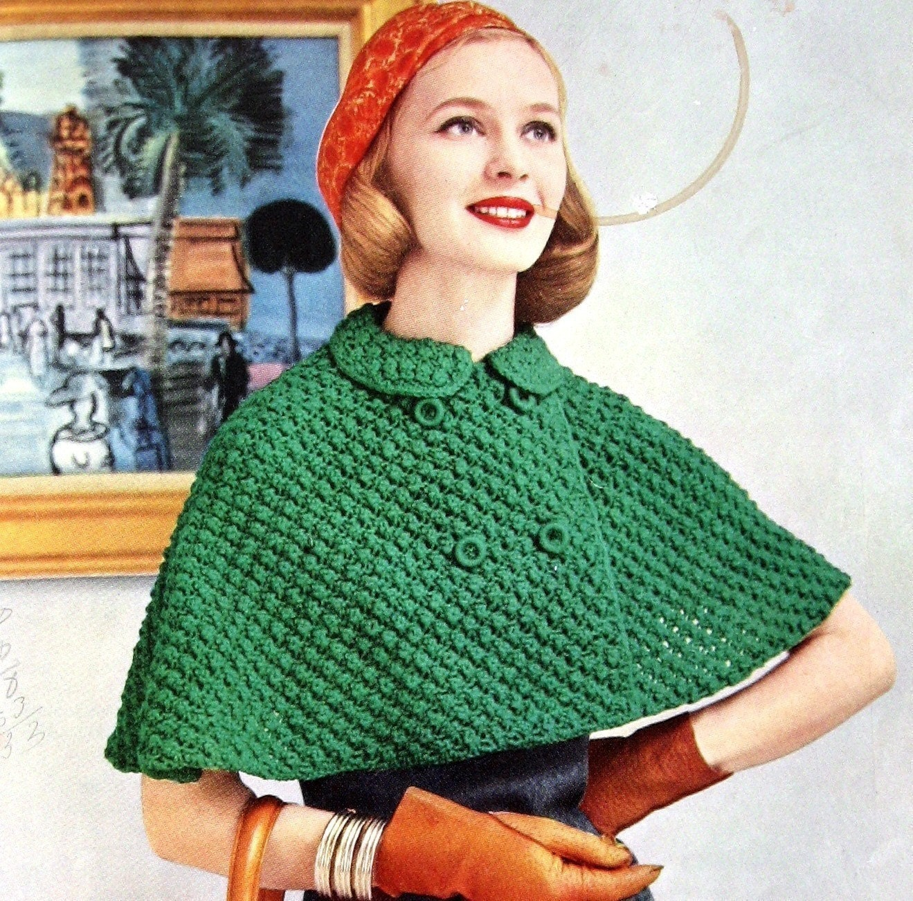 Womens Knitted Cape Pattern With Double Breasted Closure