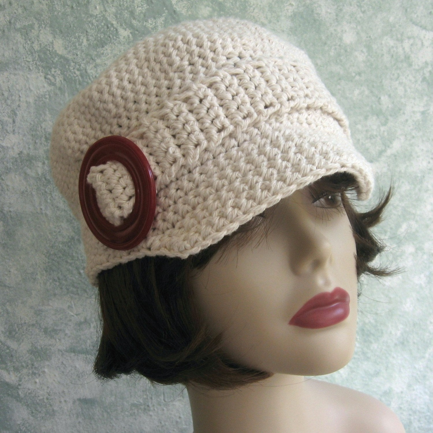 Crochet Pattern Womens Hat : Crochet Newsboy Hat Pattern Womens And Teen Sizing Cotton