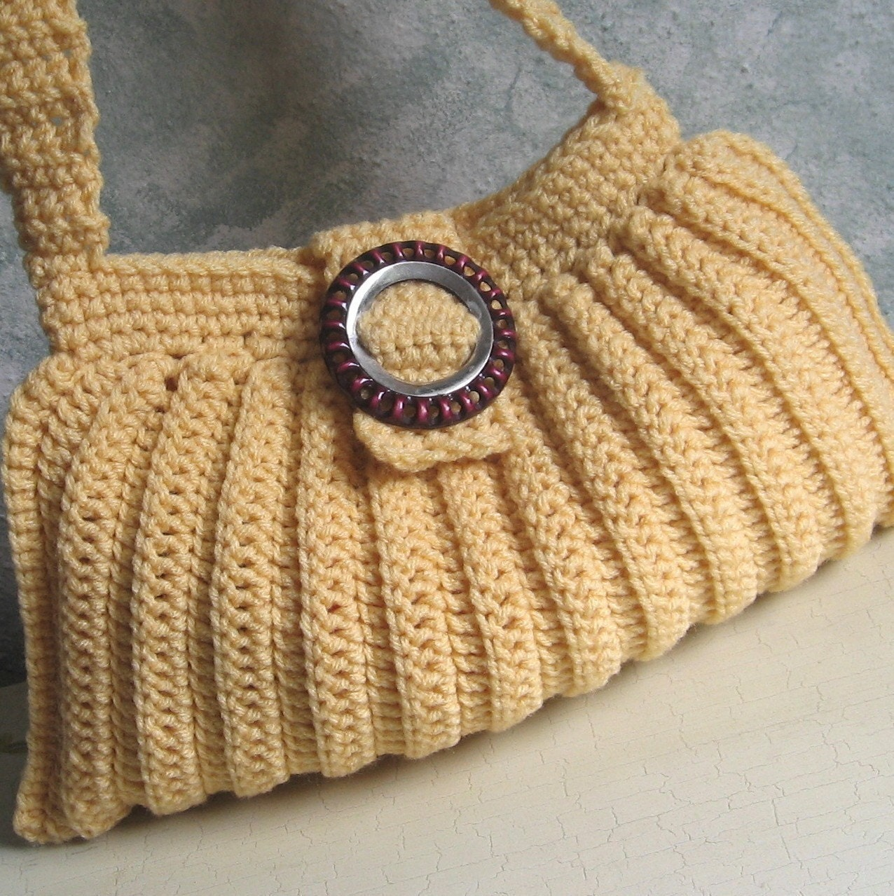 Crochet Satchel Bag Pattern : Crochet Pattern Pleated Shoulder Bag Easy To Make by kalliedesigns