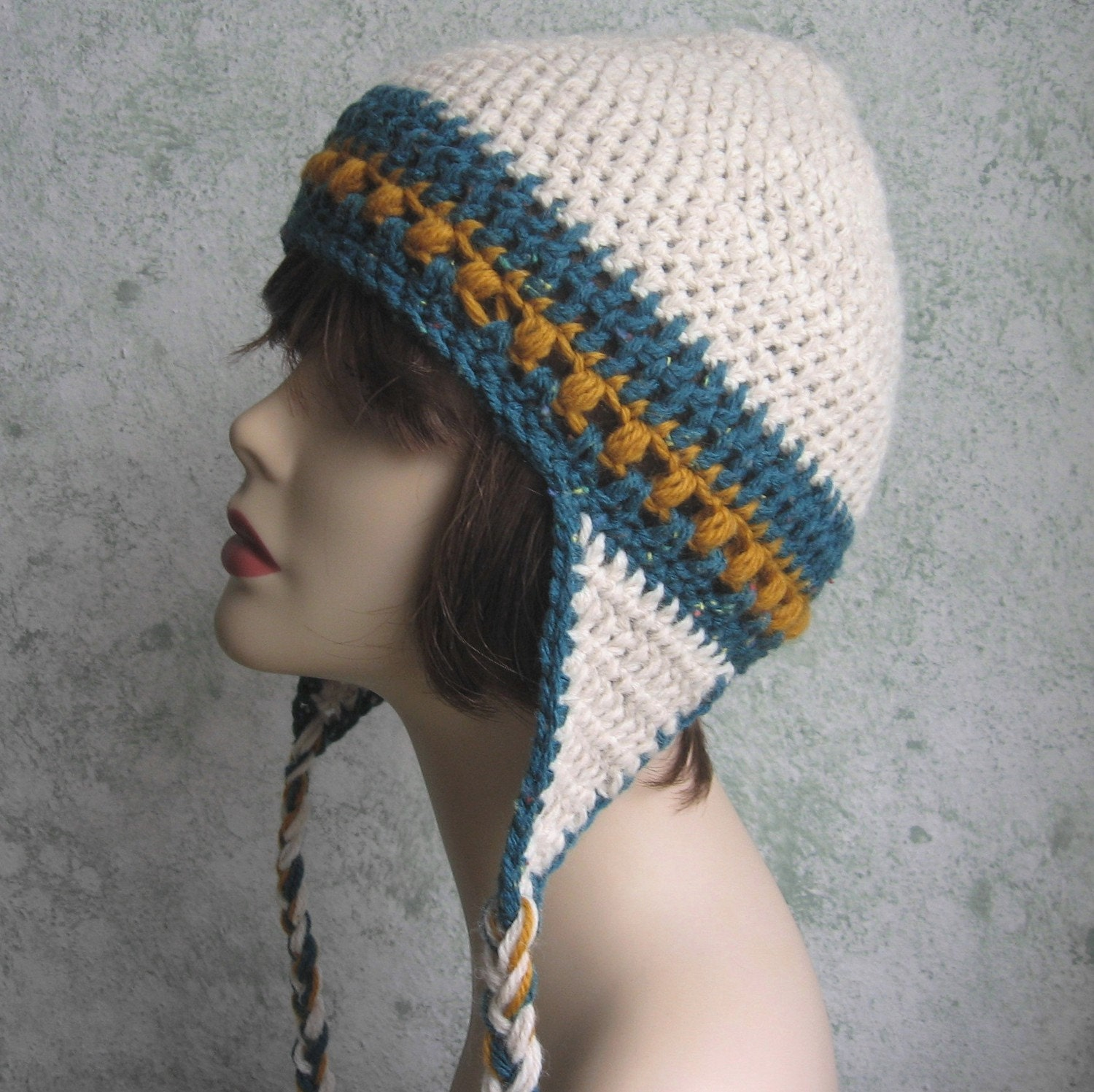 Crochet Womens Hat With Ear Flaps Pattern : Items similar to Womens Crochet Hat Pattern With Earflaps ...