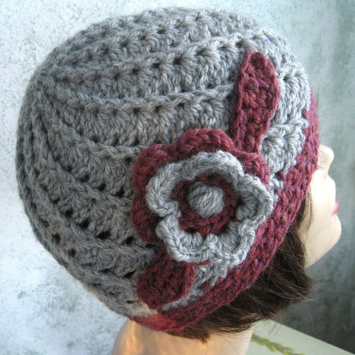 Easy Crochet Flower Hat Pattern : Womens Crochet Hat Pattern Spiral Rib With Double Flower Trim