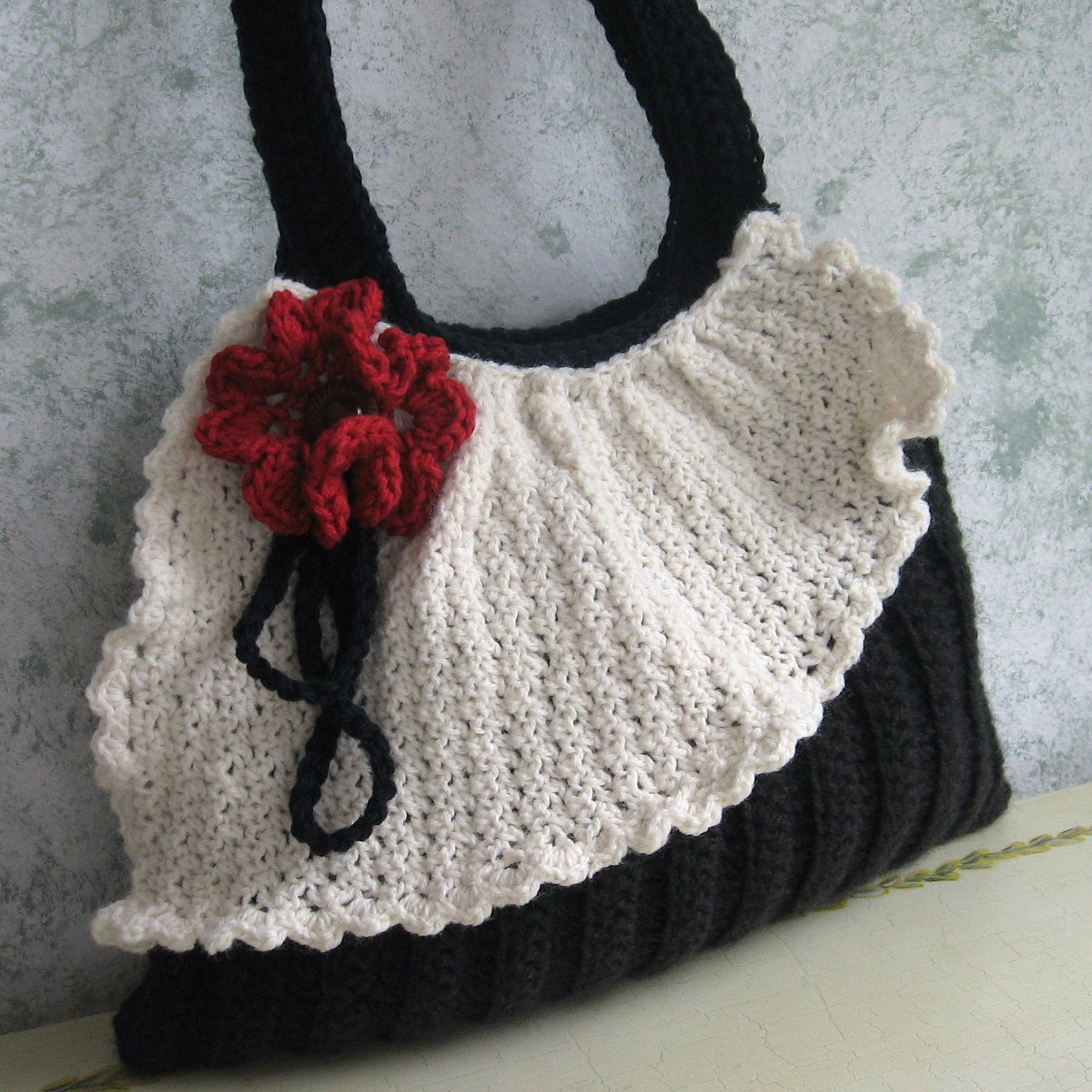 Crocheted Handbag : Crochet Purse Pattern Pleated Bag With Drape And by kalliedesigns