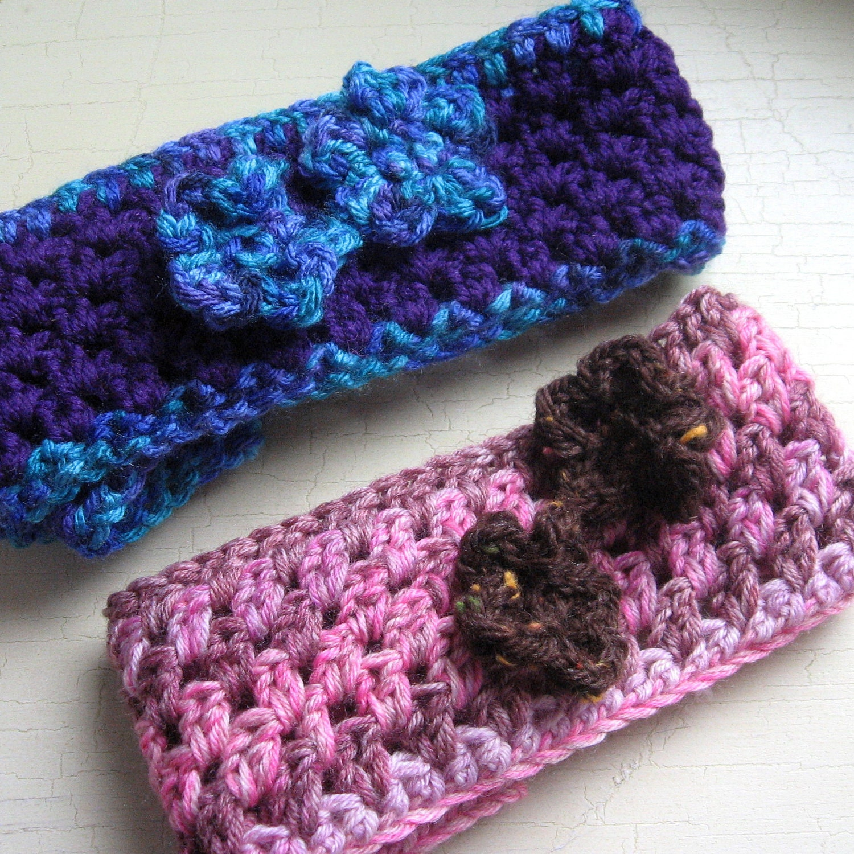 Crochet Headband Pattern With Flower : Crochet Headband Pattern With Flower Trim Baby by ...