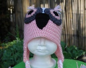 Toddler size owl hat w/ earflaps & braids