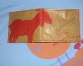 Recycled Pellet Bag Red Goat Wallet 100 Percent Vegan