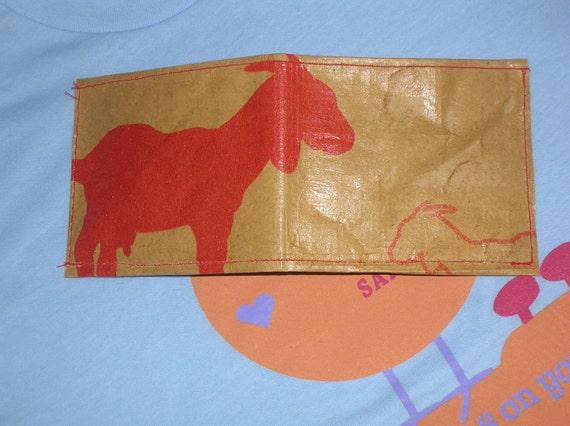 Recycled Pellet Bag Red Goat Wallet 100 Percent Vegan