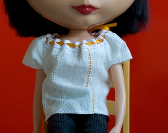 White blouse for Blythe, orange line