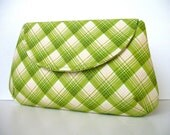 Women's Retro Green Plaid Clutch Handbag