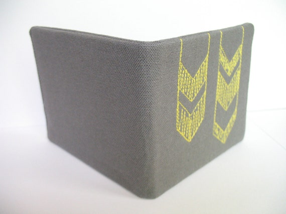 Embroidered Chevron Wallet - Free-stitched on Grey Linen