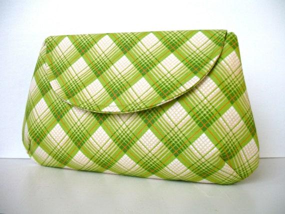 Women's Retro Green Plaid Clutch Handbag