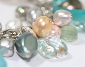 Silver Chain Bracelet with Fresh Water Pearls, Antique Sandwich Glass and Gemstones