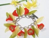 Orange Tiger Lily Charm Bracelet