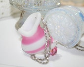 Pink and White Artifact Pottery Jug Necklace Antique Sandwich Glass