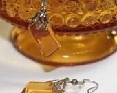 Amber Sandwich Glass Earrings