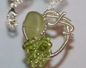 Peridot Gemstones, Peridot Color Antique Sandwich Glass and Sterling Silver Necklace