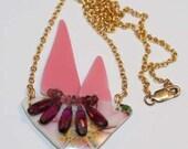 Glass Sailboat Necklace, Gemstone Necklace, Precious Cargo Royalty Ship Antique Sandwich Glass Necklace