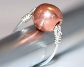 Industrial Look Contemporary Copper Ball and Hammered Sterling Ring Size 7-8