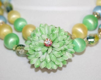 Chunky 1950s Remake Frosty Pastel Double Strand Coro Necklace