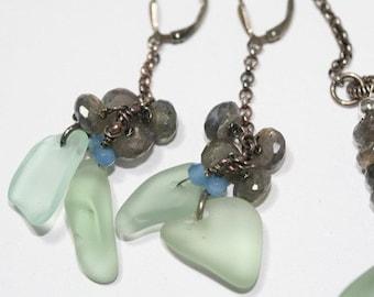 Stormy Seas, Labradorite Gemstones, Apatite, Oxidized Sterling Silver, Leverback Earrings, Antique Sandwich Glass Earrings
